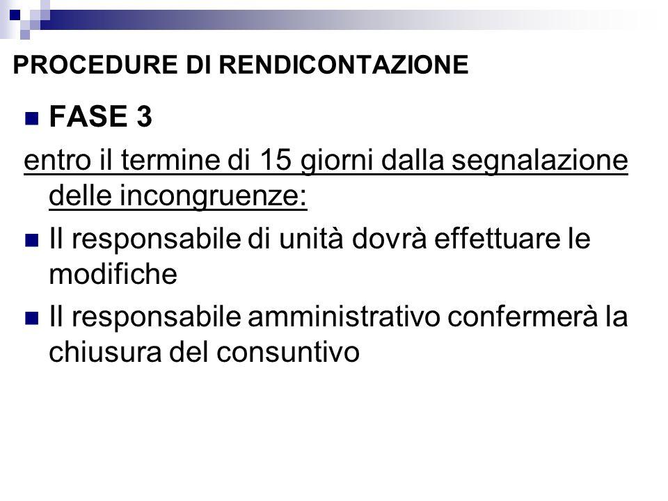 PROCEDURE DI RENDICONTAZIONE FASE 3 entro il termine di 15 giorni dalla segnalazione delle incongruenze: Il responsabile di unità dovrà effettuare le