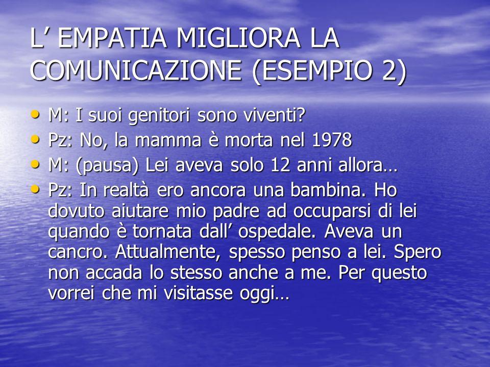L EMPATIA MIGLIORA LA COMUNICAZIONE (ESEMPIO 2) M: I suoi genitori sono viventi.
