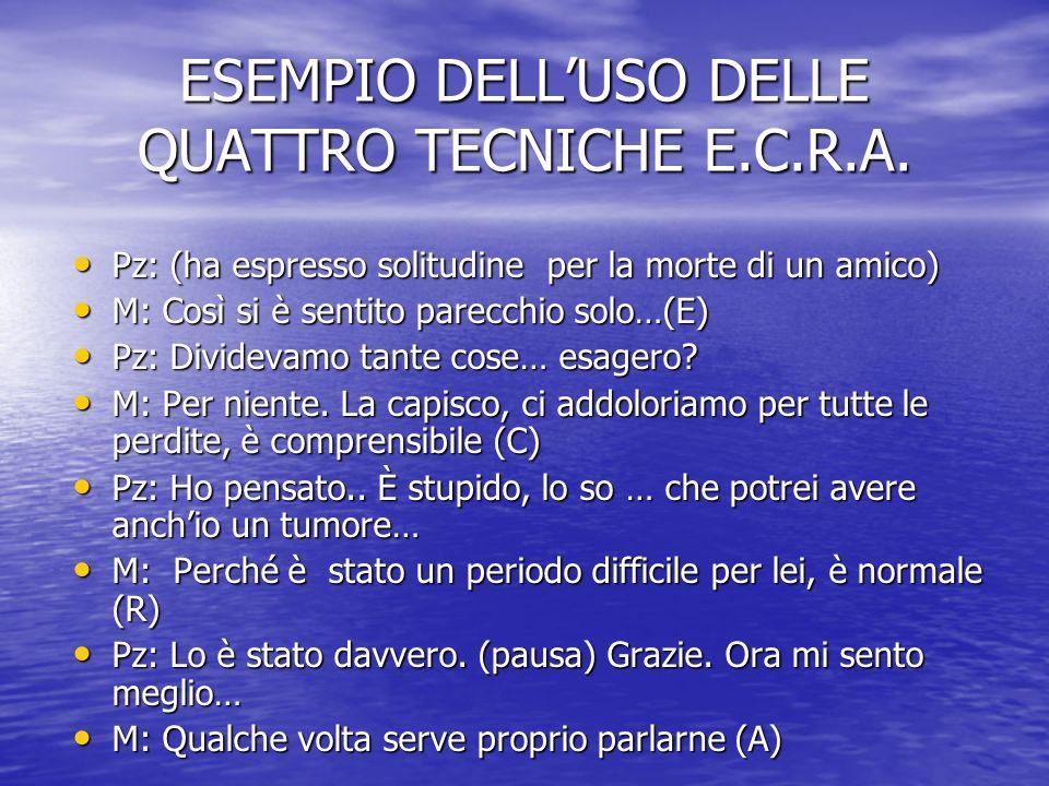 ESEMPIO DELLUSO DELLE QUATTRO TECNICHE E.C.R.A.