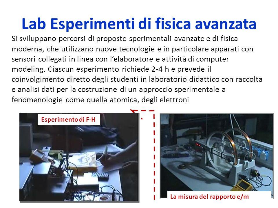 Lab Esperimenti di fisica avanzata La misura del rapporto e/m Esperimento di F-H Si sviluppano percorsi di proposte sperimentali avanzate e di fisica