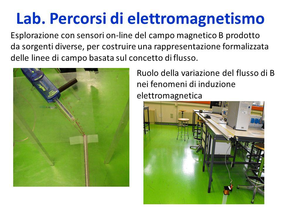 Lab. Percorsi di elettromagnetismo Esplorazione con sensori on-line del campo magnetico B prodotto da sorgenti diverse, per costruire una rappresentaz