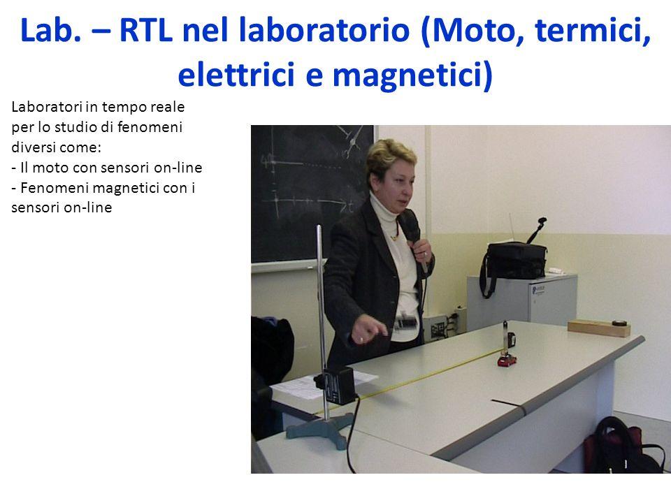 Lab. – RTL nel laboratorio (Moto, termici, elettrici e magnetici) Laboratori in tempo reale per lo studio di fenomeni diversi come: - Il moto con sens