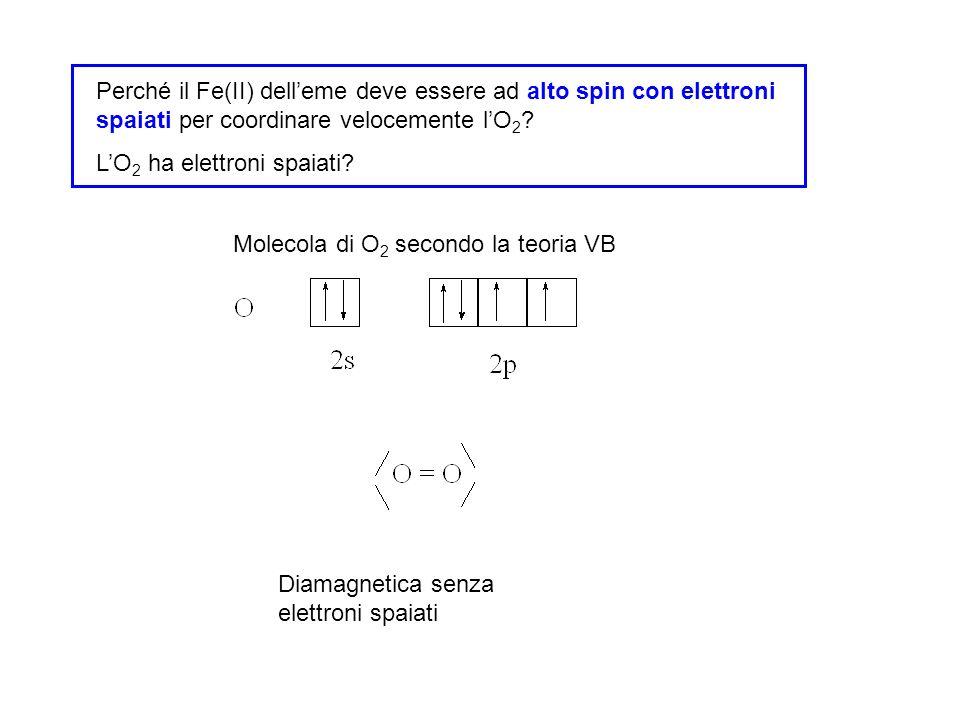 Perché il Fe(II) delleme deve essere ad alto spin con elettroni spaiati per coordinare velocemente lO 2 ? LO 2 ha elettroni spaiati? Molecola di O 2 s