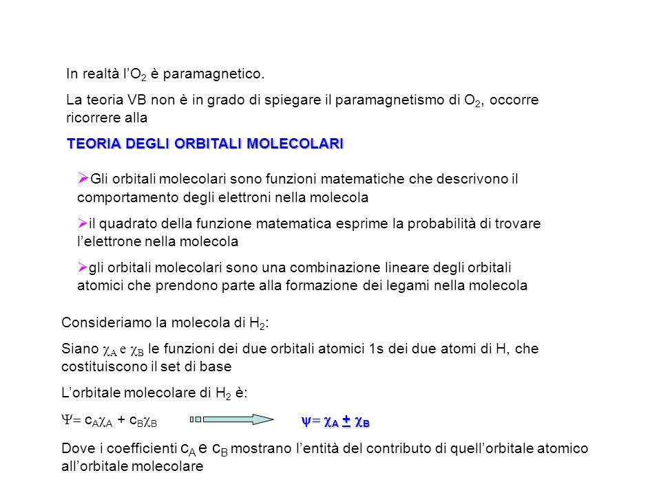 In realtà lO 2 è paramagnetico. La teoria VB non è in grado di spiegare il paramagnetismo di O 2, occorre ricorrere alla TEORIA DEGLI ORBITALI MOLECOL