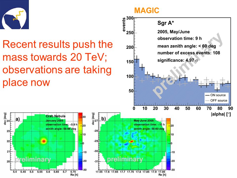 Recent results push the mass towards 20 TeV; observations are taking place now