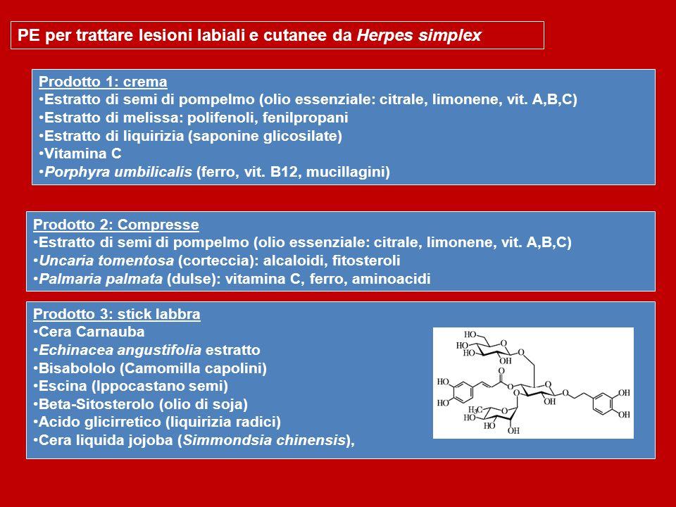 PE per trattare lesioni labiali e cutanee da Herpes simplex Prodotto 1: crema Estratto di semi di pompelmo (olio essenziale: citrale, limonene, vit. A