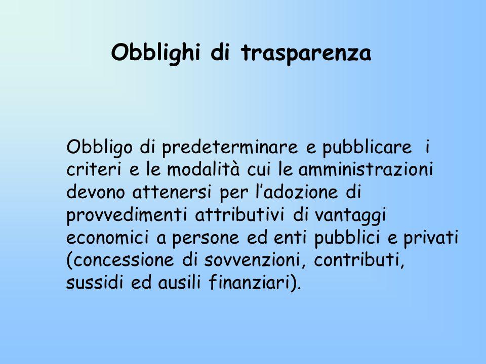 Obblighi di trasparenza Obbligo di predeterminare e pubblicare i criteri e le modalità cui le amministrazioni devono attenersi per ladozione di provve