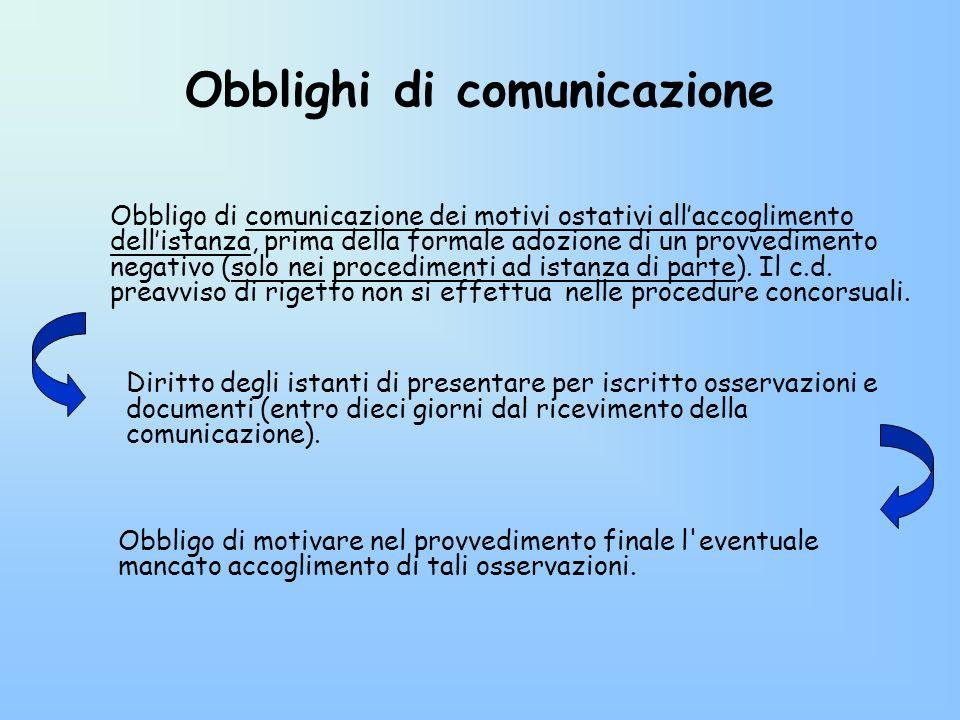 Obblighi di comunicazione Obbligo di comunicazione dei motivi ostativi allaccoglimento dellistanza, prima della formale adozione di un provvedimento n