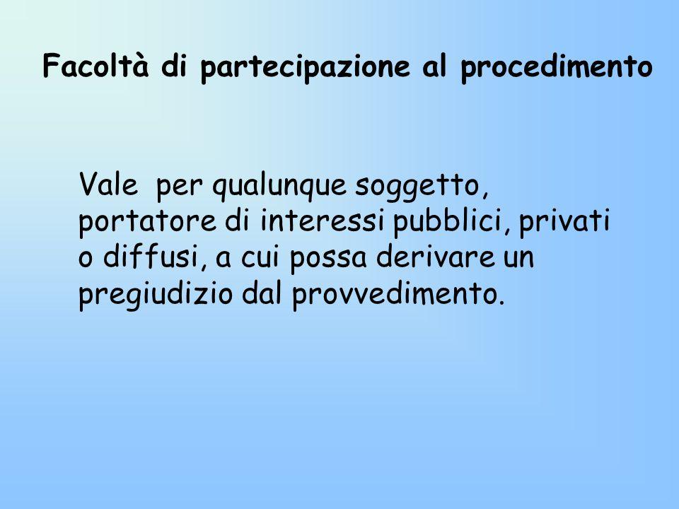 Facoltà di partecipazione al procedimento Vale per qualunque soggetto, portatore di interessi pubblici, privati o diffusi, a cui possa derivare un pre