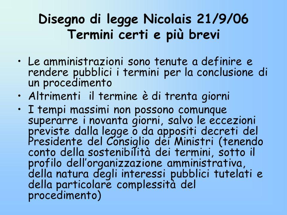 Disegno di legge Nicolais 21/9/06 Termini certi e più brevi Le amministrazioni sono tenute a definire e rendere pubblici i termini per la conclusione