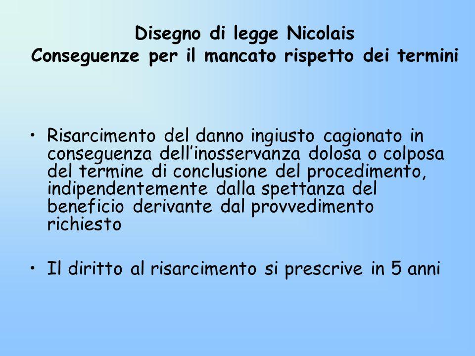 Disegno di legge Nicolais Conseguenze per il mancato rispetto dei termini Risarcimento del danno ingiusto cagionato in conseguenza dellinosservanza do
