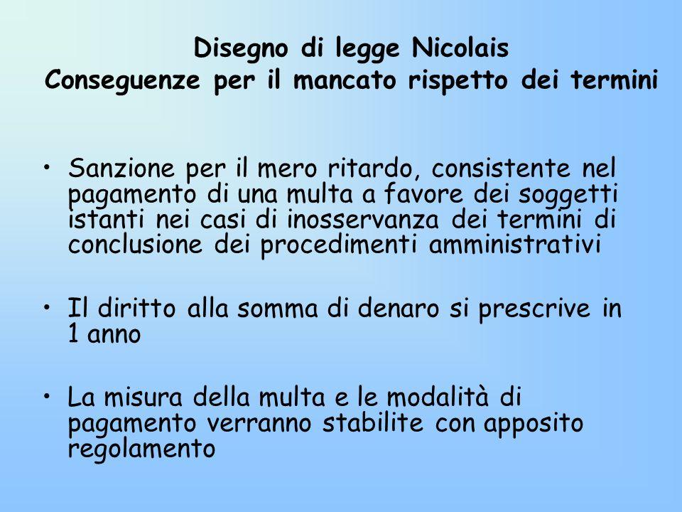 Disegno di legge Nicolais Conseguenze per il mancato rispetto dei termini Sanzione per il mero ritardo, consistente nel pagamento di una multa a favor