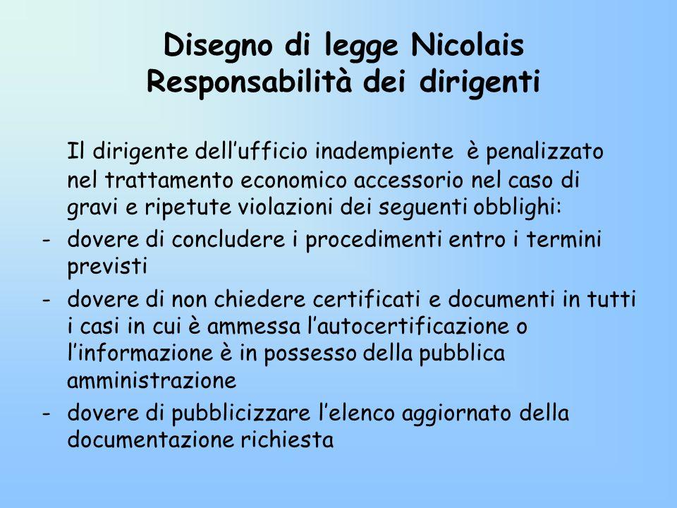 Disegno di legge Nicolais Responsabilità dei dirigenti Il dirigente dellufficio inadempiente è penalizzato nel trattamento economico accessorio nel ca
