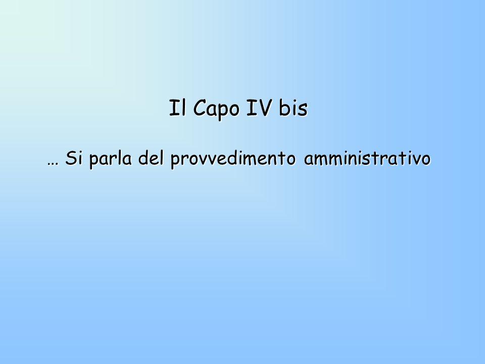 Il Capo IV bis … Si parla del provvedimento amministrativo