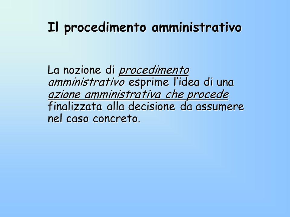 Il procedimento amministrativo La nozione di procedimento amministrativo esprime lidea di una azione amministrativa che procede finalizzata alla decis