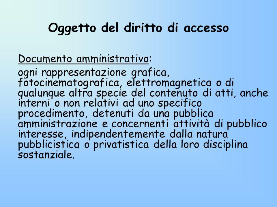 Oggetto del diritto di accesso Documento amministrativo: ogni rappresentazione grafica, fotocinematografica, elettromagnetica o di qualunque altra spe