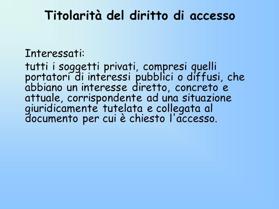 Titolarità del diritto di accesso Interessati: tutti i soggetti privati, compresi quelli portatori di interessi pubblici o diffusi, che abbiano un int