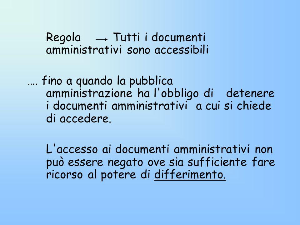 Regola Tutti i documenti amministrativi sono accessibili …. fino a quando la pubblica amministrazione ha l'obbligo di detenere i documenti amministrat