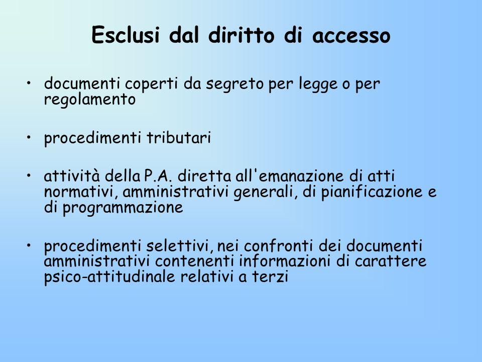 Esclusi dal diritto di accesso documenti coperti da segreto per legge o per regolamento procedimenti tributari attività della P.A. diretta all'emanazi