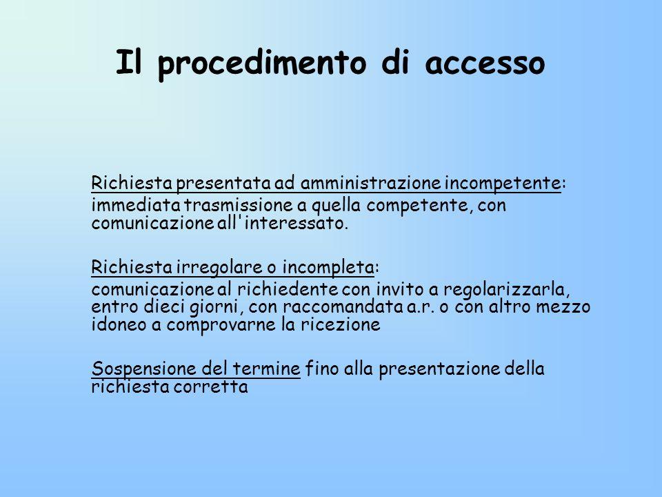 Il procedimento di accesso Richiesta presentata ad amministrazione incompetente: immediata trasmissione a quella competente, con comunicazione all'int