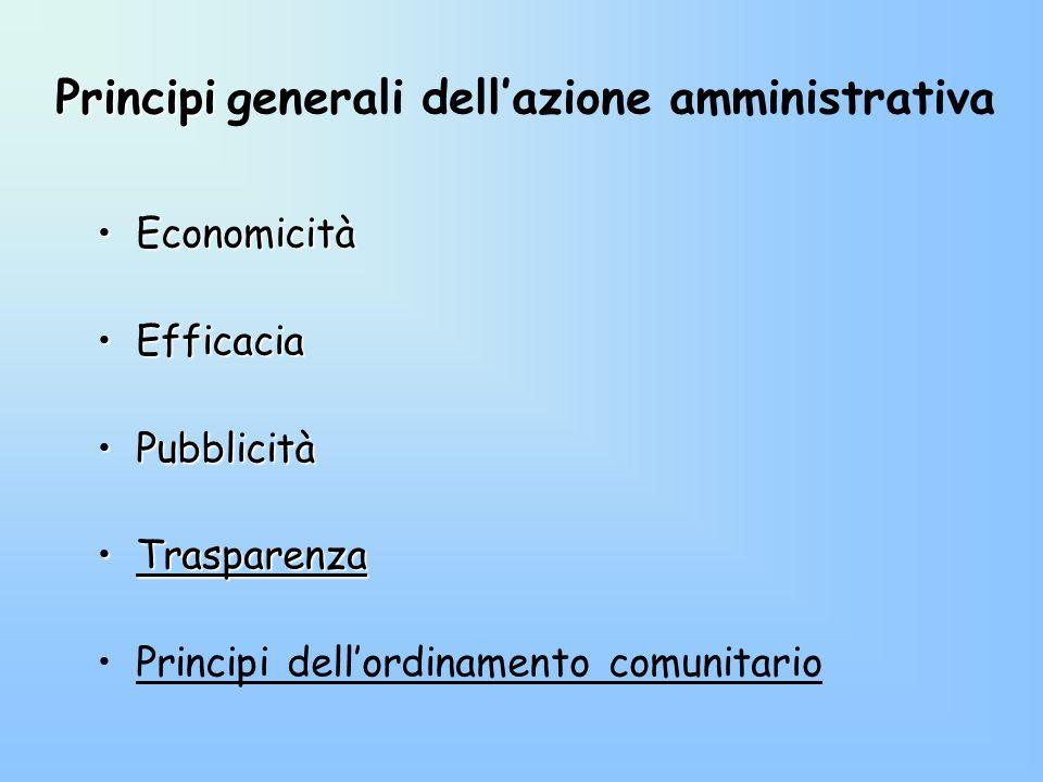 Principi Principi generali dellazione amministrativa EconomicitàEconomicità EfficaciaEfficacia PubblicitàPubblicità TrasparenzaTrasparenza Principi de