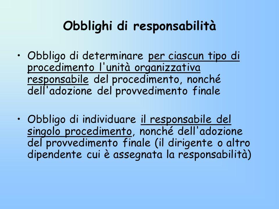 Obblighi di responsabilità Obbligo di determinare per ciascun tipo di procedimento l'unità organizzativa responsabile del procedimento, nonché dell'ad