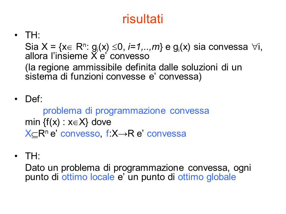 risultati TH: Sia X = {x R n : g i (x) 0, i=1,..,m} e g i (x) sia convessa i, allora linsieme X e convesso (la regione ammissibile definita dalle soluzioni di un sistema di funzioni convesse e convessa) Def: problema di programmazione convessa min {f(x) : x X} dove X R n e convesso, f:XR e convessa TH: Dato un problema di programmazione convessa, ogni punto di ottimo locale e un punto di ottimo globale