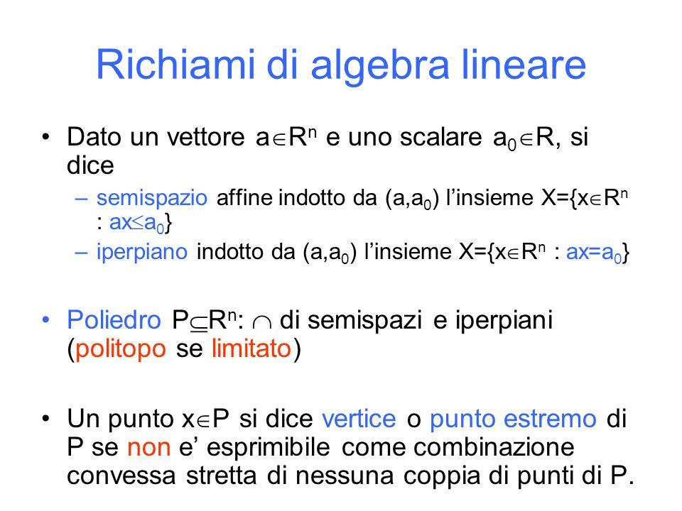 Dato un vettore a R n e uno scalare a 0 R, si dice –semispazio affine indotto da (a,a 0 ) linsieme X={x R n : ax a 0 } –iperpiano indotto da (a,a 0 ) linsieme X={x R n : ax=a 0 } Poliedro P R n : di semispazi e iperpiani (politopo se limitato) Un punto x P si dice vertice o punto estremo di P se non e esprimibile come combinazione convessa stretta di nessuna coppia di punti di P.