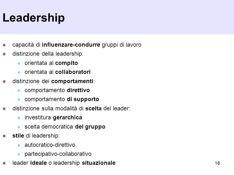 16 Leadership capacità di influenzare-condurre gruppi di lavoro distinzione della leadership: orientata al compito orientata ai collaboratori distinzi