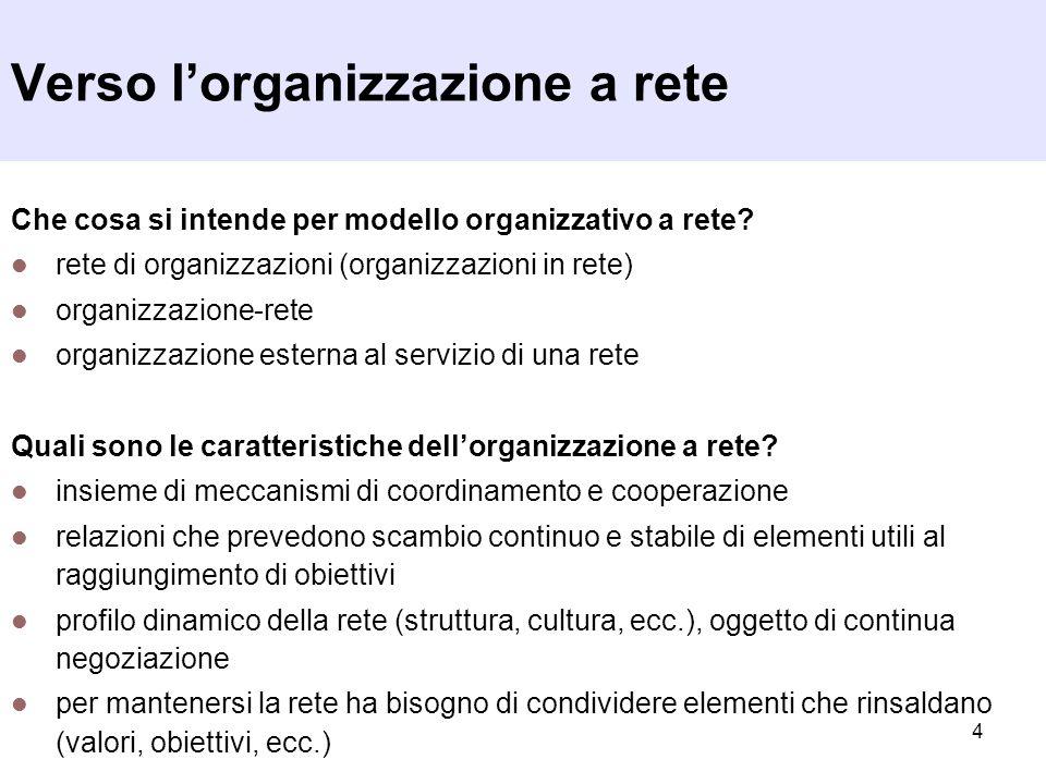 4 Verso lorganizzazione a rete Che cosa si intende per modello organizzativo a rete? rete di organizzazioni (organizzazioni in rete) organizzazione-re