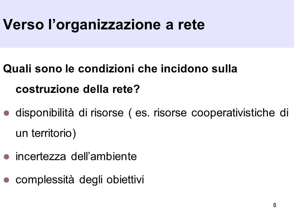 6 Quali sono le condizioni che incidono sulla costruzione della rete? disponibilità di risorse ( es. risorse cooperativistiche di un territorio) incer