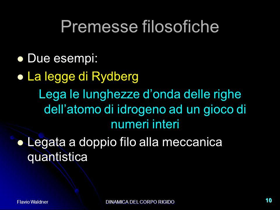 Flavio WaldnerDINAMICA DEL CORPO RIGIDO 10 Premesse filosofiche Due esempi: La legge di Rydberg Lega le lunghezze donda delle righe dellatomo di idrog