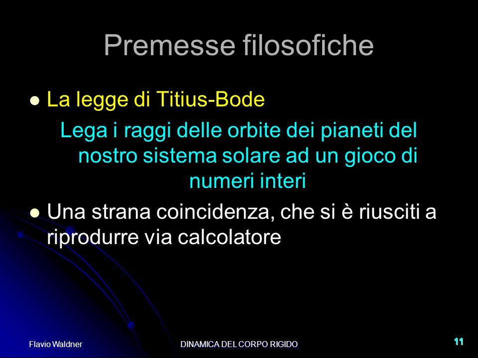 Flavio WaldnerDINAMICA DEL CORPO RIGIDO 11 Premesse filosofiche La legge di Titius-Bode Lega i raggi delle orbite dei pianeti del nostro sistema solar