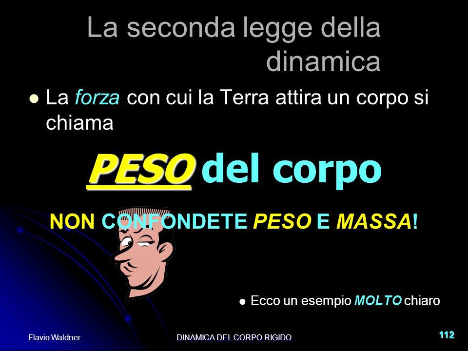 Flavio WaldnerDINAMICA DEL CORPO RIGIDO 112 La seconda legge della dinamica La forza con cui la Terra attira un corpo si chiama PESO PESO del corpo NO