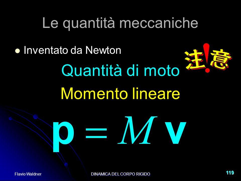 Flavio WaldnerDINAMICA DEL CORPO RIGIDO 119 Le quantità meccaniche Inventato da Newton Quantità di moto Momento lineare
