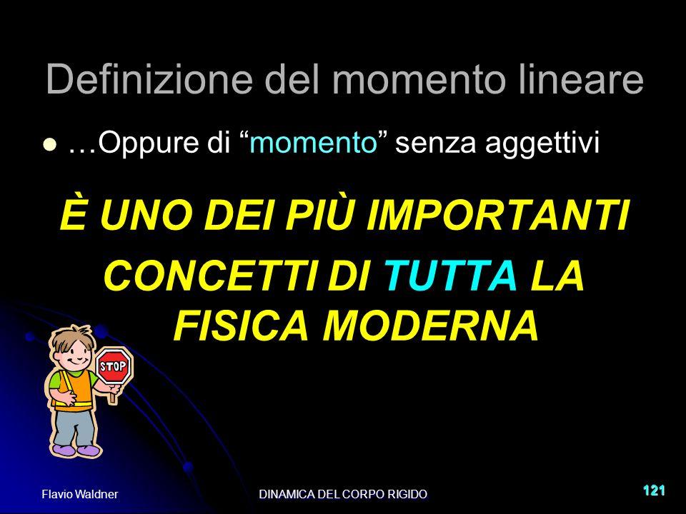 Flavio WaldnerDINAMICA DEL CORPO RIGIDO 121 Definizione del momento lineare …Oppure di momento senza aggettivi È UNO DEI PIÙ IMPORTANTI CONCETTI DI TU