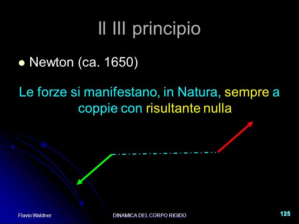 Flavio WaldnerDINAMICA DEL CORPO RIGIDO 125 Il III principio Newton (ca. 1650) Le forze si manifestano, in Natura, sempre a coppie con risultante null