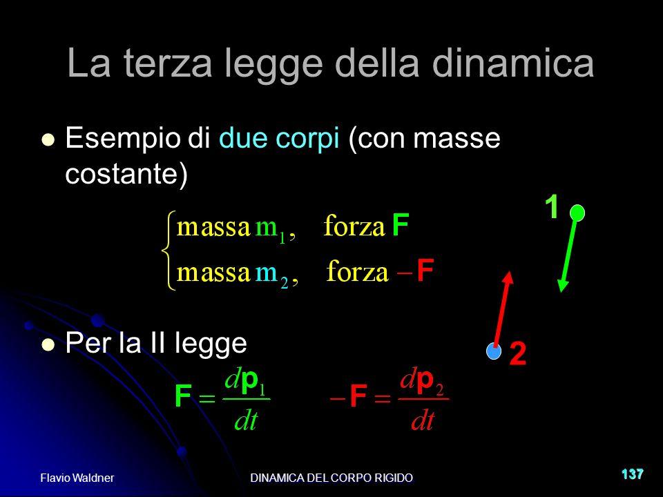 Flavio WaldnerDINAMICA DEL CORPO RIGIDO 137 La terza legge della dinamica Esempio di due corpi (con masse costante) Per la II legge 1 2