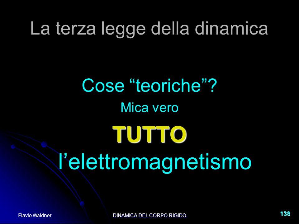 Flavio WaldnerDINAMICA DEL CORPO RIGIDO 138 La terza legge della dinamica Cose teoriche? Mica vero TUTTO TUTTO lelettromagnetismo
