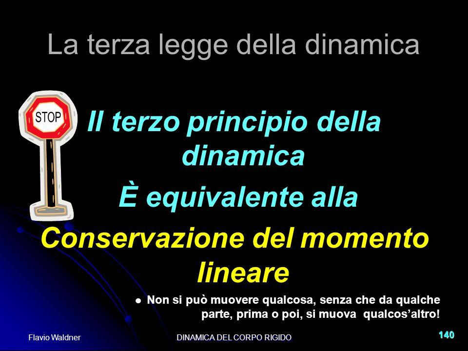 Flavio WaldnerDINAMICA DEL CORPO RIGIDO 140 La terza legge della dinamica Il terzo principio della dinamica È equivalente alla Conservazione del momen