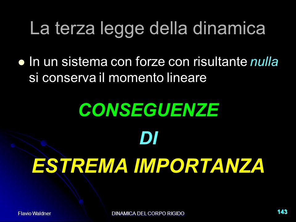 Flavio WaldnerDINAMICA DEL CORPO RIGIDO 143 La terza legge della dinamica In un sistema con forze con risultante nulla si conserva il momento lineare
