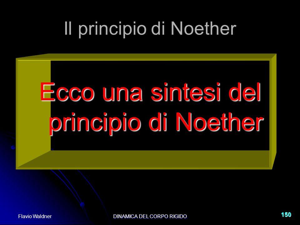 Flavio WaldnerDINAMICA DEL CORPO RIGIDO 150 Il principio di Noether Ecco una sintesi del principio di Noether