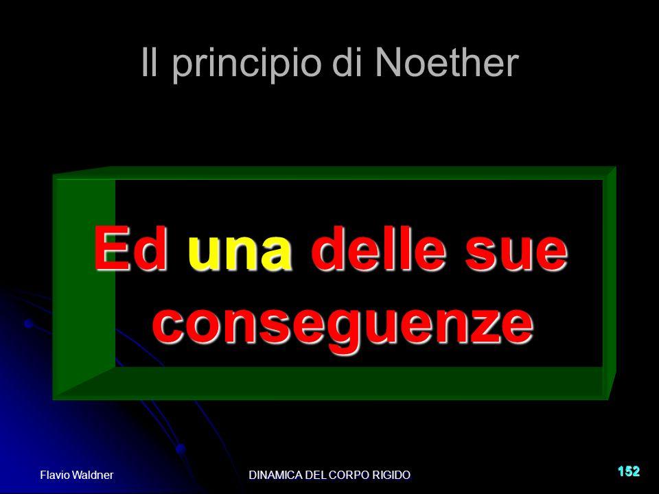 Flavio WaldnerDINAMICA DEL CORPO RIGIDO 152 Il principio di Noether Ed una delle sue conseguenze