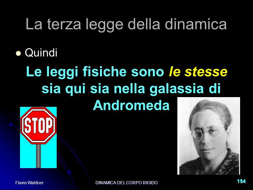 Flavio WaldnerDINAMICA DEL CORPO RIGIDO 154 La terza legge della dinamica Quindi Le leggi fisiche sono le stesse sia qui sia nella galassia di Androme