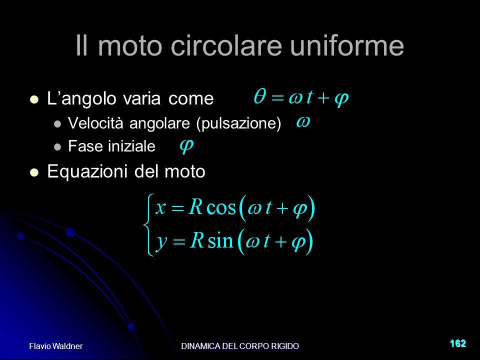 Flavio WaldnerDINAMICA DEL CORPO RIGIDO 162 Il moto circolare uniforme Langolo varia come Velocità angolare (pulsazione) Fase iniziale Equazioni del m