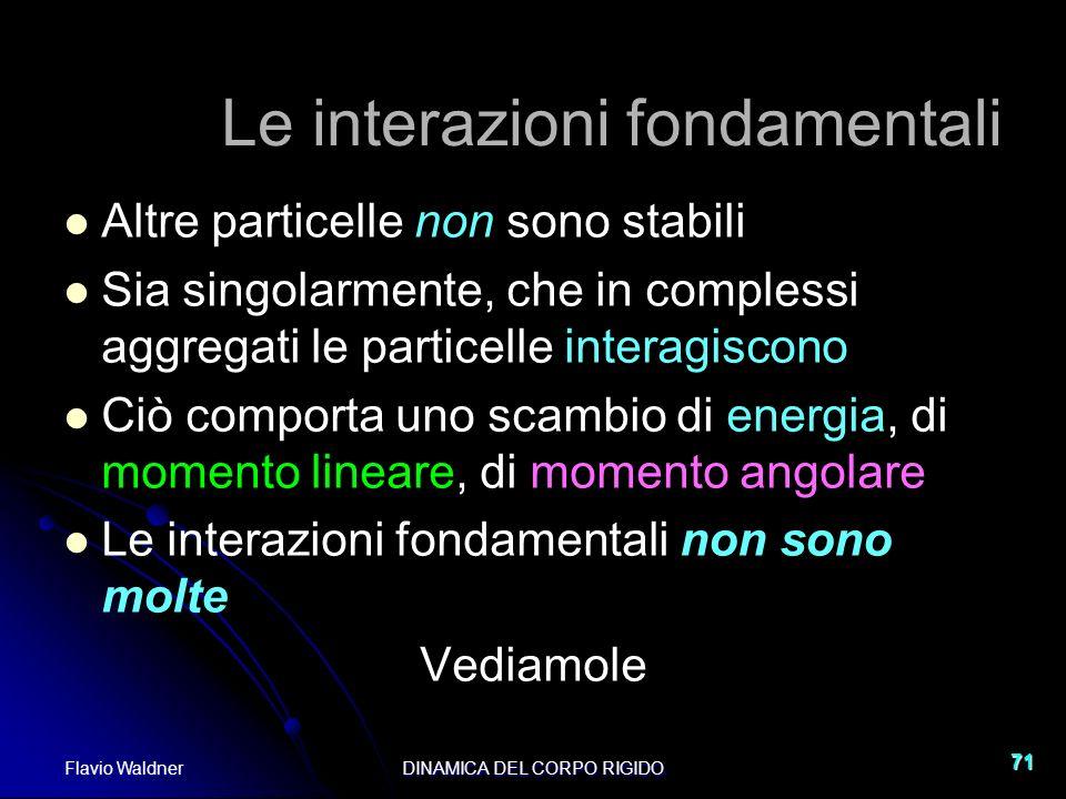 Flavio WaldnerDINAMICA DEL CORPO RIGIDO 71 Le interazioni fondamentali Altre particelle non sono stabili Sia singolarmente, che in complessi aggregati
