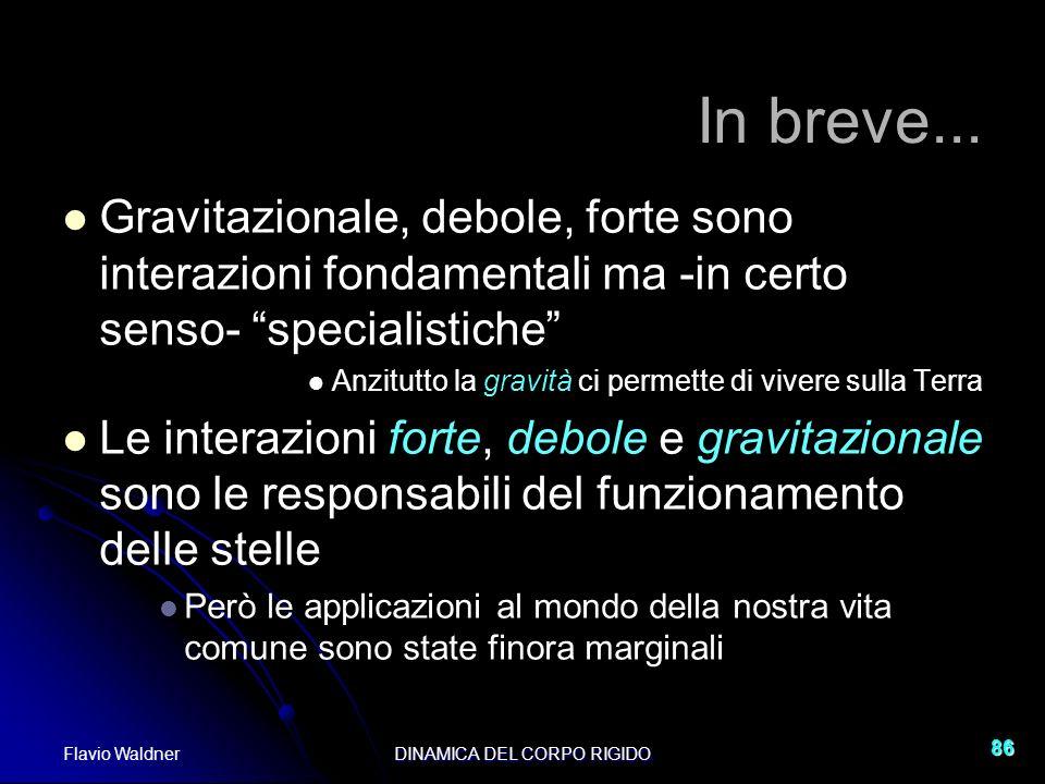 Flavio WaldnerDINAMICA DEL CORPO RIGIDO 86 In breve... Gravitazionale, debole, forte sono interazioni fondamentali ma -in certo senso- specialistiche