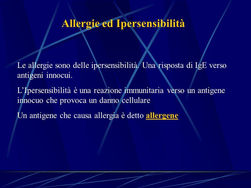 Allergie ed Ipersensibilità Le allergie sono delle ipersensibilità. Una risposta di IgE verso antigeni innocui. LIpersensibilità è una reazione immuni