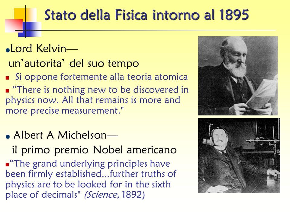 Stato della Fisica intorno al 1895 Meccanica Statistica (c 1860) 3 leggi della termodinamica Teoria Cinetica Elettricita e Magnetismo Equazioni di Max