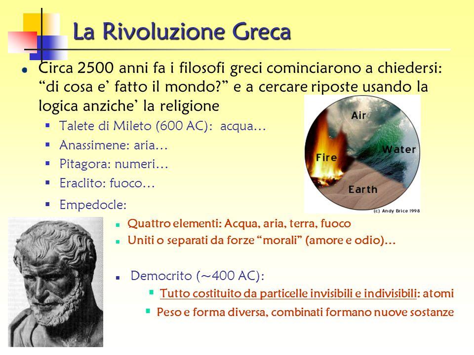 La Rivoluzione Greca Circa 2500 anni fa i filosofi greci cominciarono a chiedersi: di cosa e fatto il mondo.